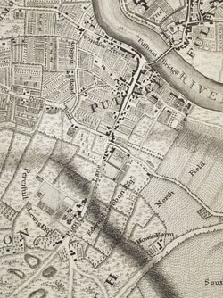 An exact Survey of the City's of London Westminster, ye Borough of Southwark and the country near ten miles round; begun in 1741 and ended in 1745, by J. Rocque; and engrav'd by R. Parr, 1746, (Putney)